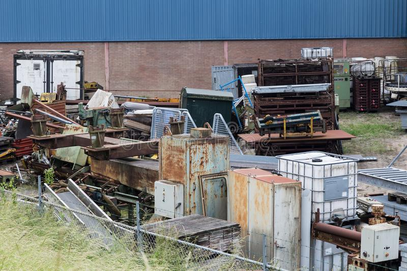 Reusable waste machinery from old factories royalty free stock photography