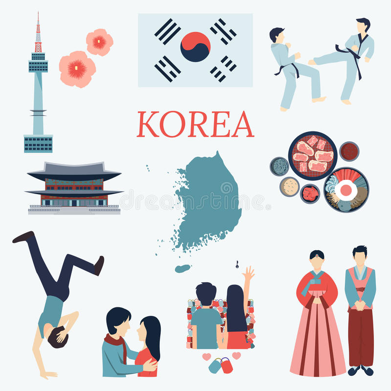 All about Korea. Flat design elements. KPOP, Korean series,flag, nation flower,taekwondo,map,tourist attractions and etc. All about Korea. Flat design elements royalty free illustration