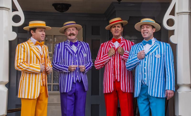 All Male Barbershop Quartet Sings at Disneyland. Four singers entertain guests on Main Street, USA at Disneyland, Anaheim California during the California royalty free stock photography