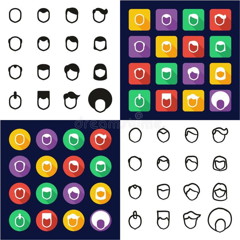 All manlig frisyr i en symboler uppsättning för design för svart- & vitfärglägenhet Freehand vektor illustrationer