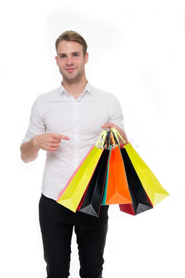 All mine. Birthday gifts arrived on time. Guy satisfied got bag gift. Man happy received package gift isolated white. Birthday delivery. Guy celebrates stock photo