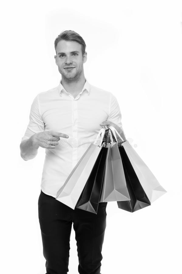 All mine. Birthday gifts arrived on time. Guy satisfied got bag gift. Man happy received package gift isolated white. Birthday delivery. Guy celebrates stock image