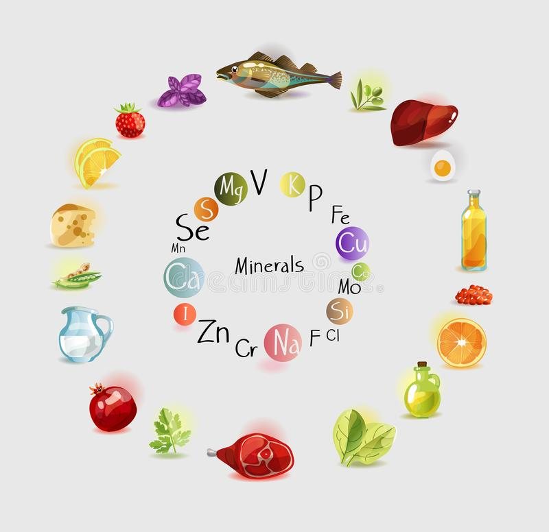 All minerals for health benefits in food. Balanced diet stock illustration