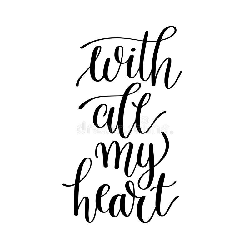 You Are My Heart Black And White Hand Lettering Inscription Stock