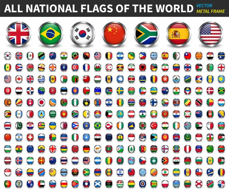 All national flags of the world . Circle metal frame with sparkle design . White isolated background . Element Vector royalty free illustration