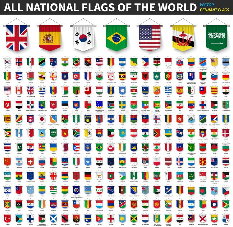 All national flags of the world . 3D realistic pennant hanging design . White isolated background . Vector royalty free illustration