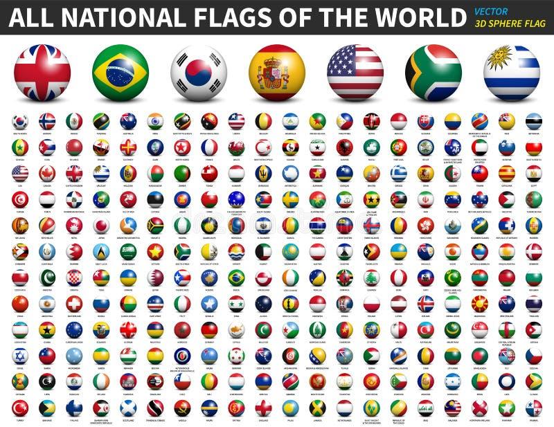 All national flags of the world . 3D spherical ball design . Vector stock illustration