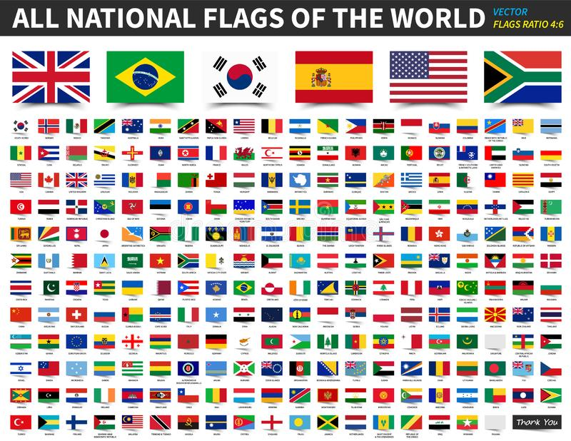All national flags of the world . Ratio 4 : 6 design with float sticky note paper style . Elements vector.  vector illustration