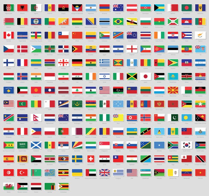 All National Flags Of The World With Names High Quality Vector Flag Isolated On White Background Stock Vector Illustration Of Africa Geography 109417420