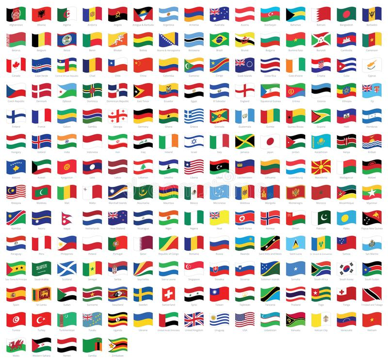All national world waving flags with names - high quality vector flag isolated on white background. All national waving flags from all over the world with names stock illustration