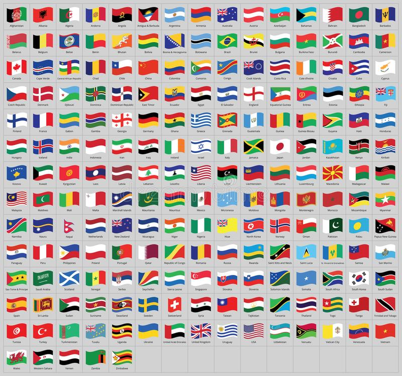 All national world waving flags with names - high quality vector flag isolated on gray background. All national waving flags from all over the world with names royalty free illustration