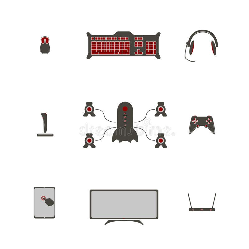 Game accessories for gamers. All that is necessary for video games stock illustration