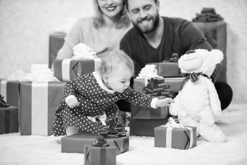 All we need is love. Couple in love with baby toddler celebrate anniversary. Family values. Lovely family cute daughter royalty free stock image