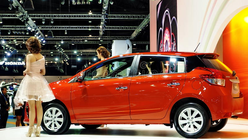 Two Models Stand Next To The Allnew Toyota Yaris Editorial Stock - All new toyota models
