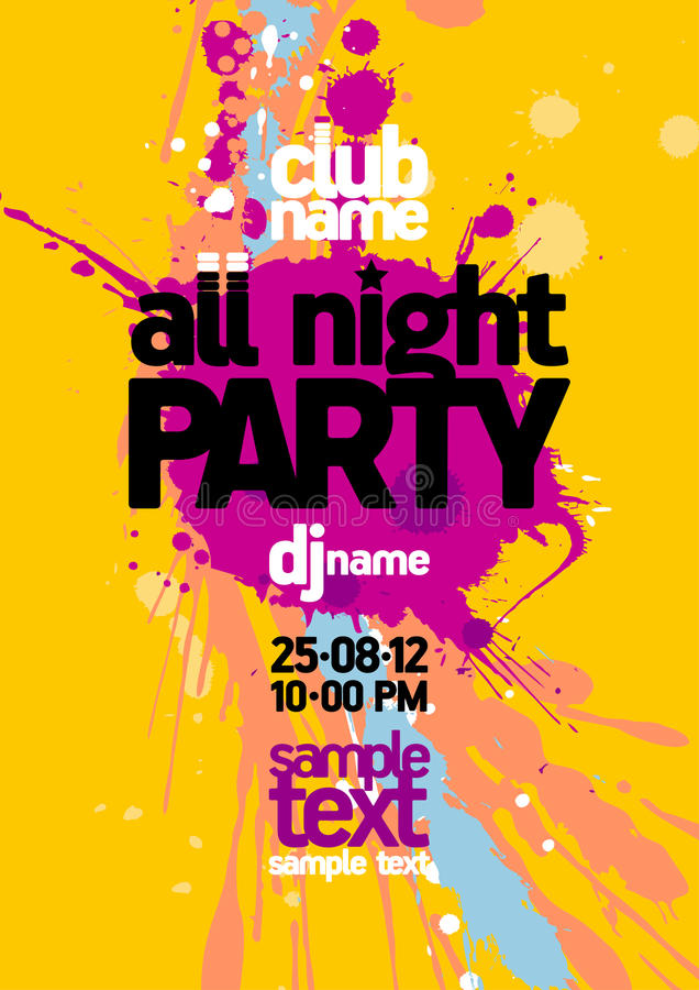 All Night Party design template. royalty free illustration