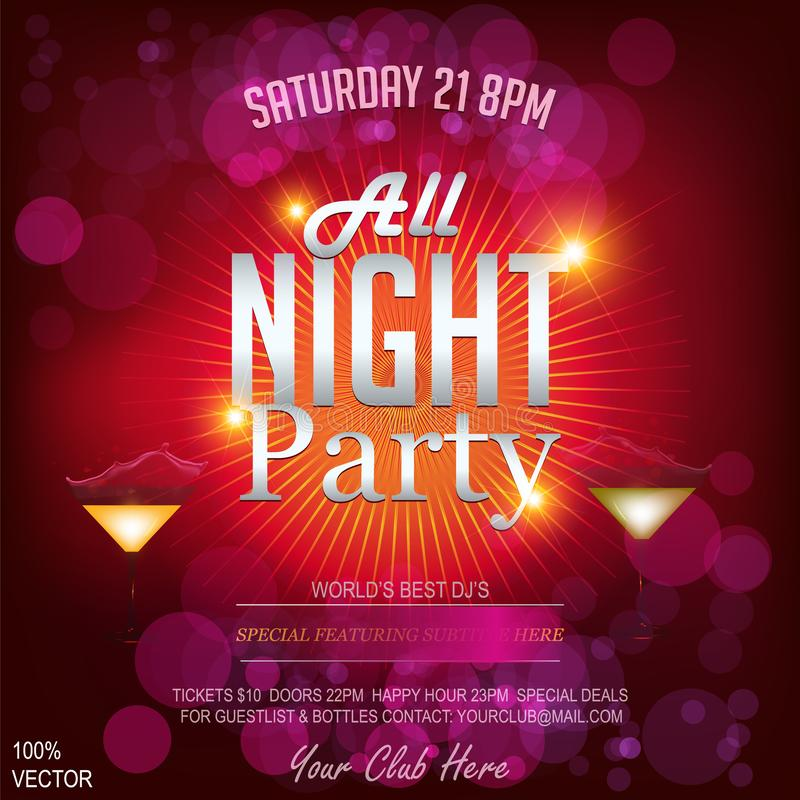 All night party invitation template & poster. EPS 10 vector illustration