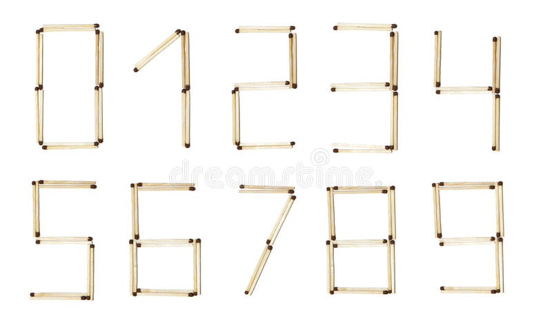 All numbers made of safety match stock photography