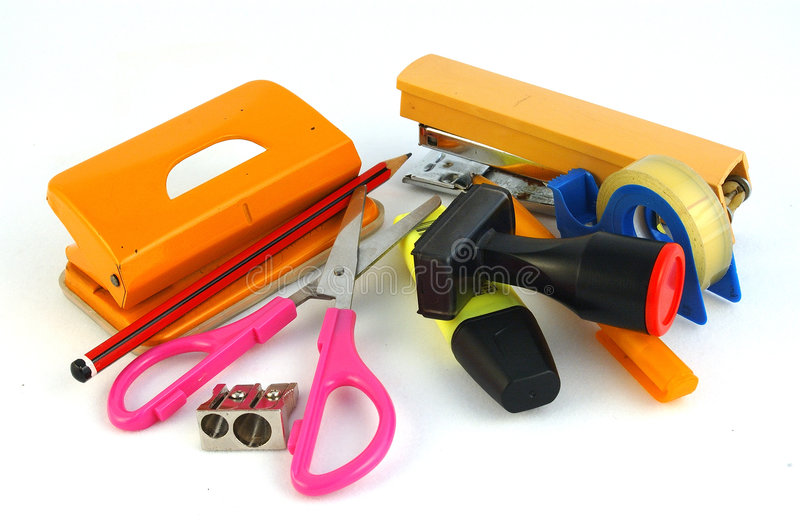 All office supplies stock photo