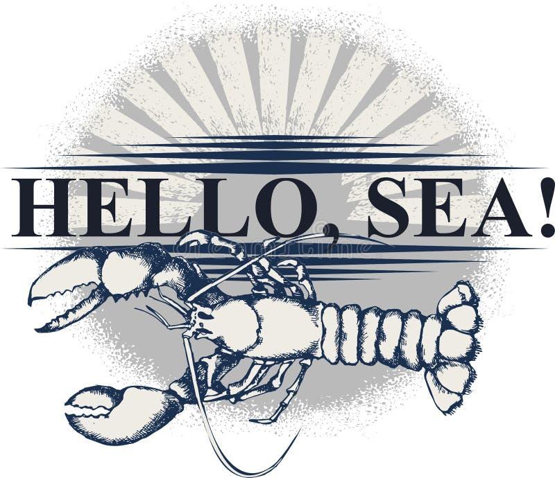 All om havsresor Design för t-skjorta tryck, affisch eller tatuering stock illustrationer