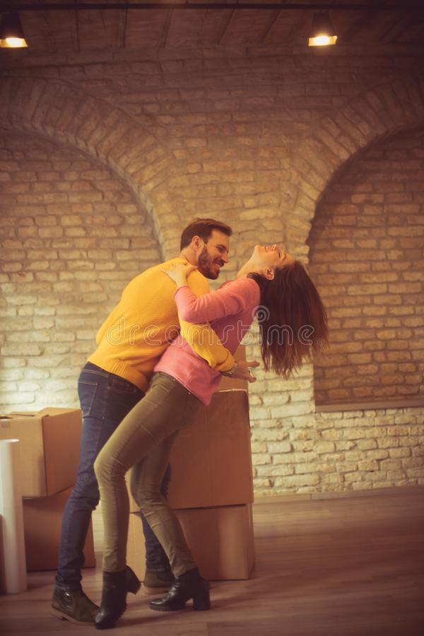 All our dreams are finally coming true. Young couple in new home. Copy space stock photography