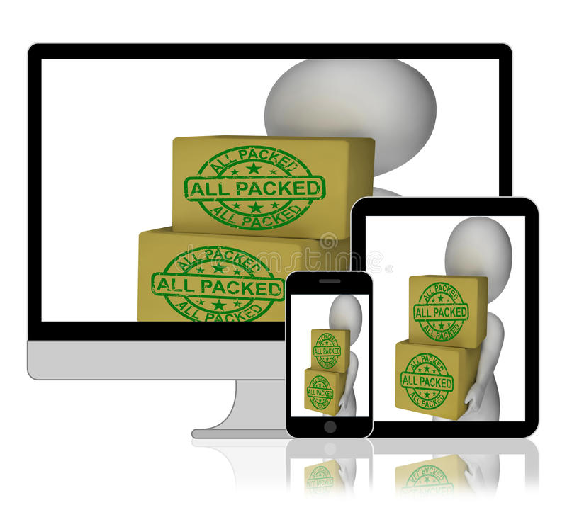 All Packed Boxes Display Product Packaging And Delivery. All Packed Boxes Displaying Product Packaging And Delivery royalty free illustration