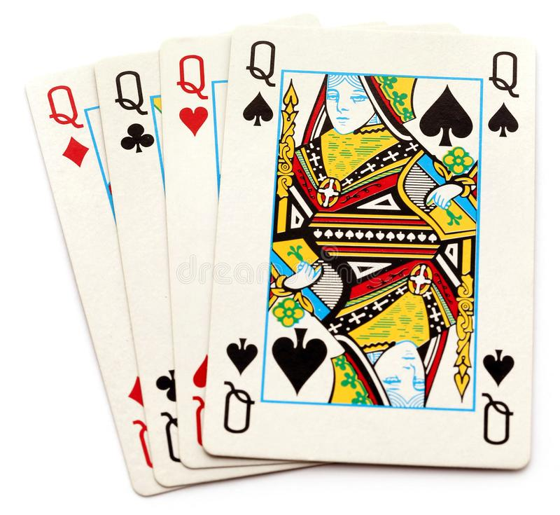All queens of playing card royalty free stock photo