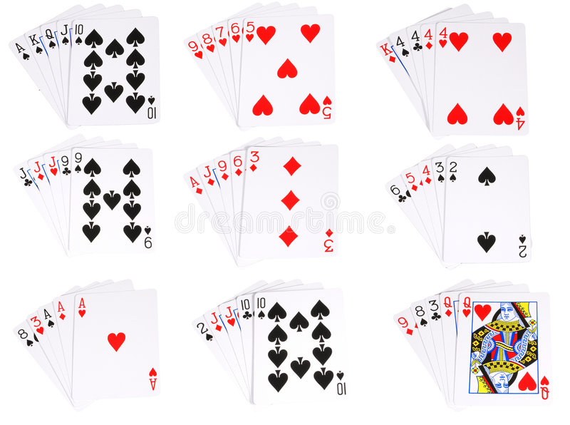 All the ranked hands in poker stock illustration