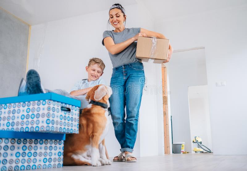 We are all realy happy in our new home stock images