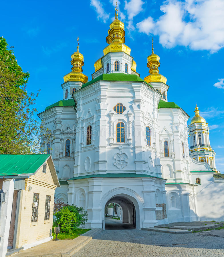 The All Saints Church. With Economical Gates is a part of fortification complex of the Kiev Pechersk Lavra, Ukraine royalty free stock image