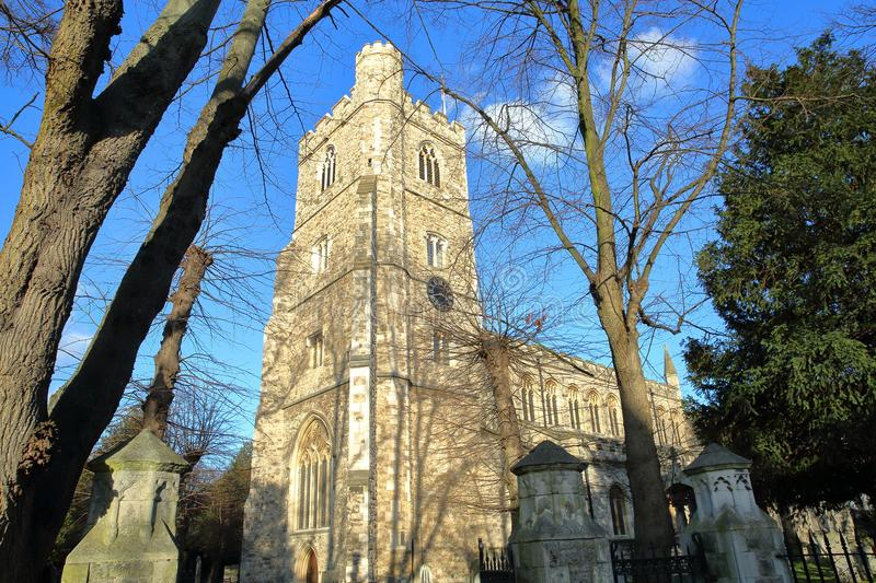 All Saints Church in Fulham, Bishops Park, borough of Hammersmith and Fulham, London, UK. All Saints Church in Fulham, Bishops Park, borough of Hammersmith and royalty free stock image