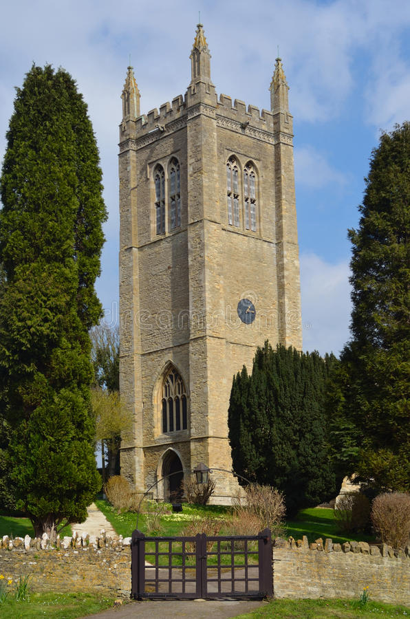 All Saints church tower Odell Bedfordshire royalty free stock photos