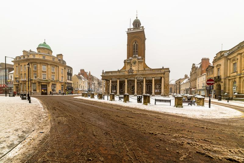 All Saints church on winter snowy day located in the centre of Northampton City, Northamptonshire England. stock images