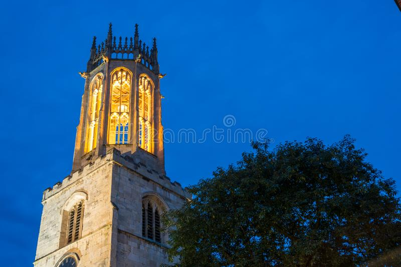 The All Saints church in York in the night. The lit All Saints church in York in the night royalty free stock photography