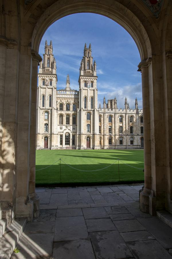 All Saints College. Oxford University, UK - view through an archway royalty free stock photography