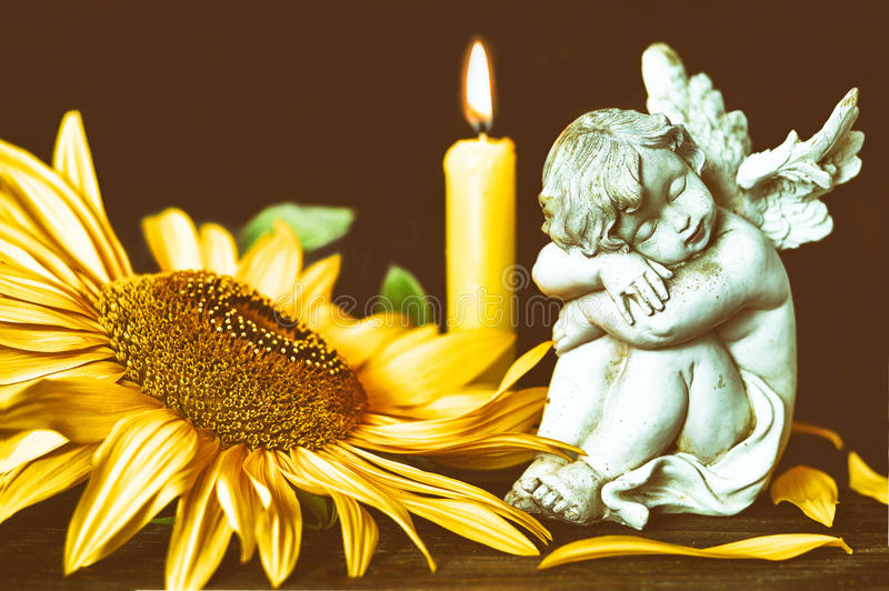 All Saints Day. Theme with angel, flower and burning candle stock photography