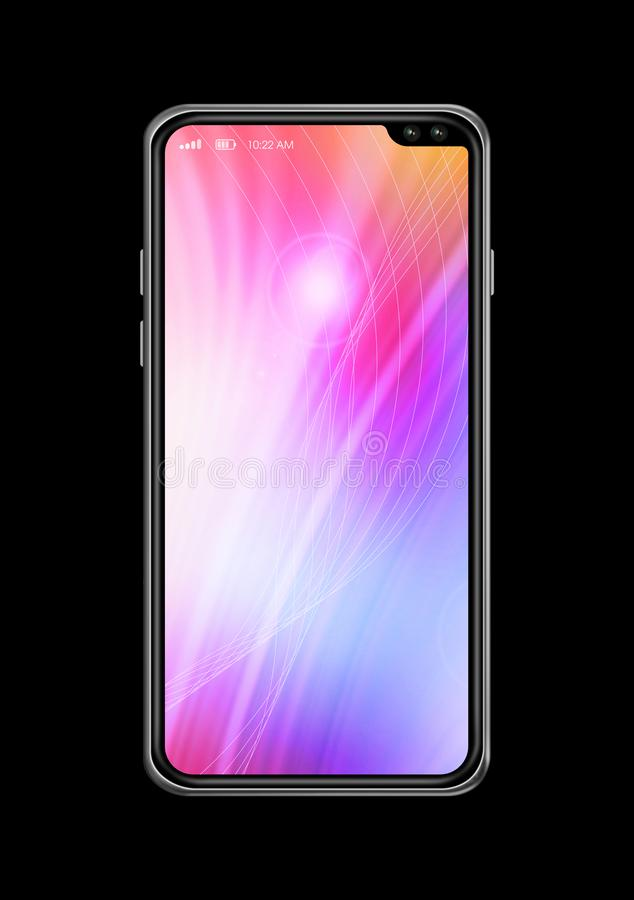 All-screen colorful smartphone mockup isolated on black. 3D render royalty free stock image