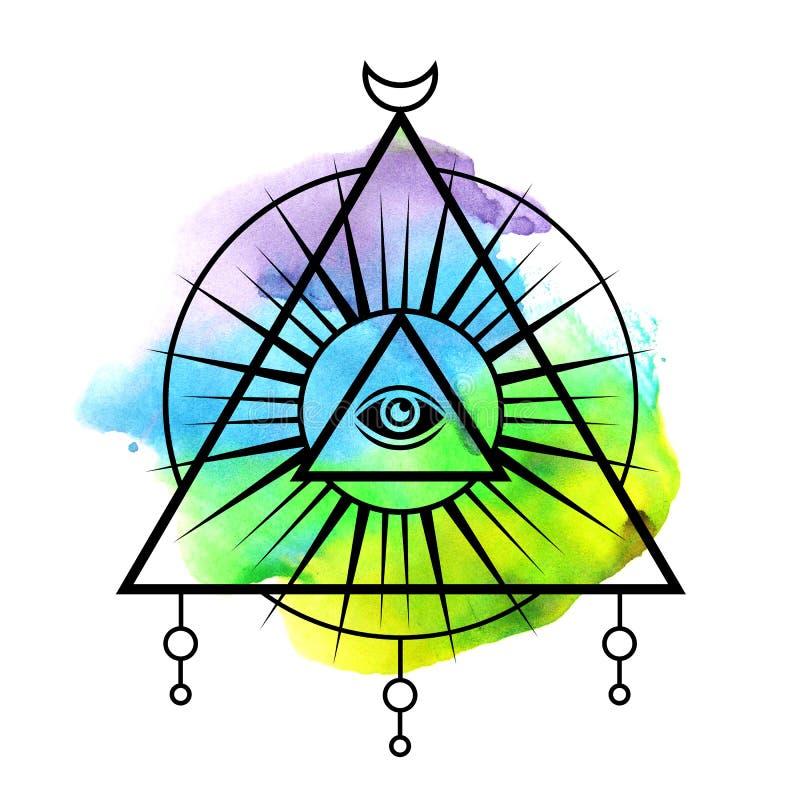 All-se ögonsymbol royaltyfri illustrationer