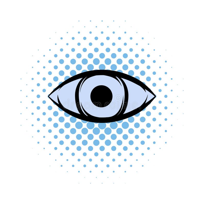 All-seeing eye comics icon. On a white background stock illustration