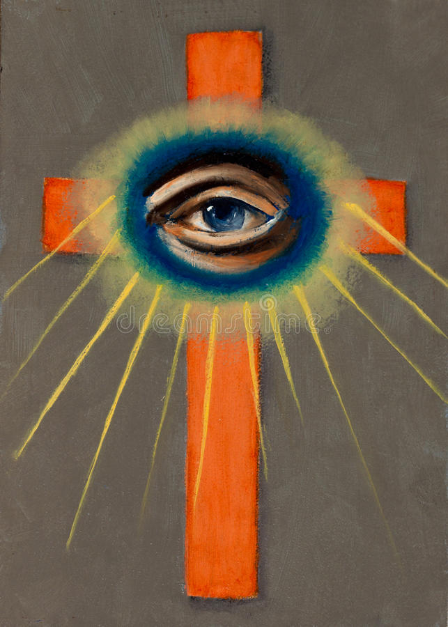 Download All Seeing Eye with Cross stock illustration. Image of masonic - 20805680