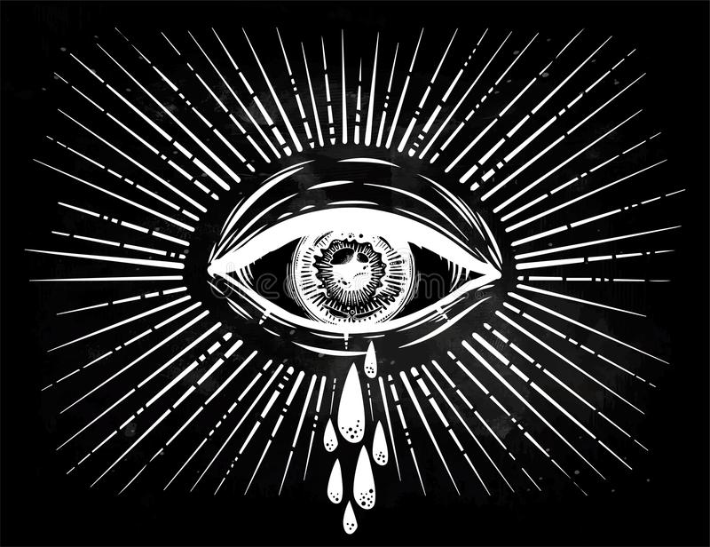 All Seeing Eye Crying Watery Tears Sadness Look Alchemy Religion Spirituality Occultism Tattoo Art Isolated Vector Illustration Conspiracy Theory