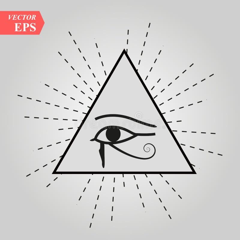 All-Seeing Eye of God The Eye of Providence Eye of Omniscience Luminous Delta Oculus Dei . Ancient mystical sacral symbol of Illum royalty free illustration