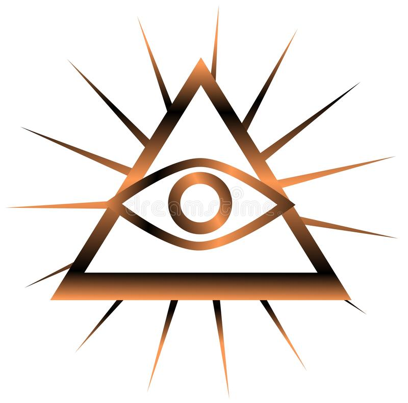 Colorful All-Seeing Eye isolated stock illustration