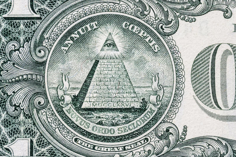 All-seeing eye. Masonic sign. Mason symbol. 1 one dollar. royalty free stock image