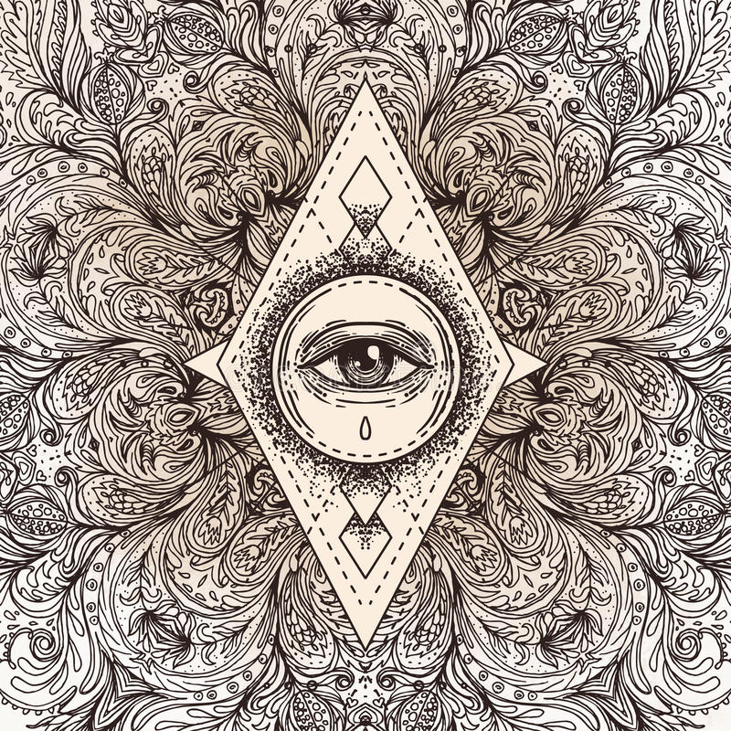 All seeing eye in ornate round mandala pattern. Mystic, alchemy, occult concept. Design for music cover, t-shirt , boho poster, f stock illustration