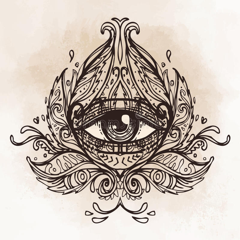 All seeing eye in ornate round mandala pattern. Mystic, alchemy, occult concept. Design for music cover, t-shirt , boho poster, f vector illustration