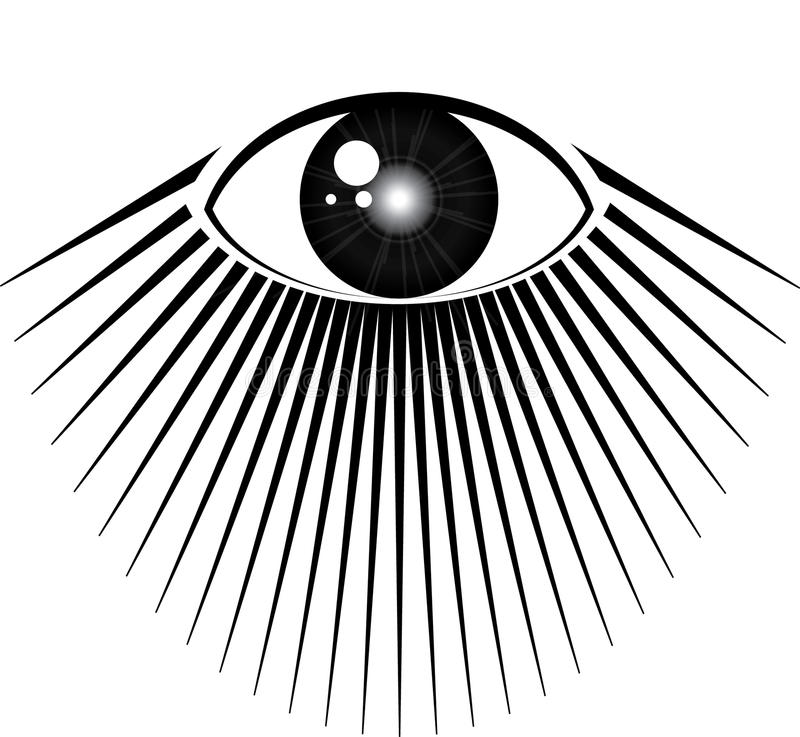 All seeing eye. With rays of light stock illustration