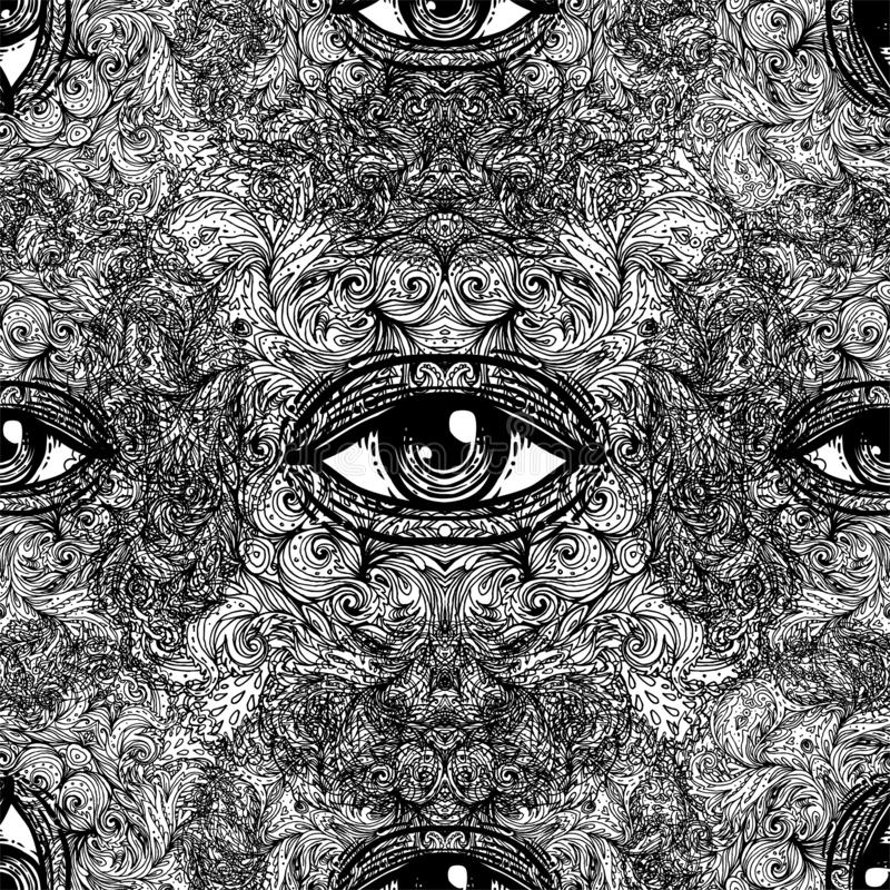 All seeing eye seamless pattern. Hand drawn vintage style background. Alchemy, spirituality, occultism, textiles art. Isolated stock illustration