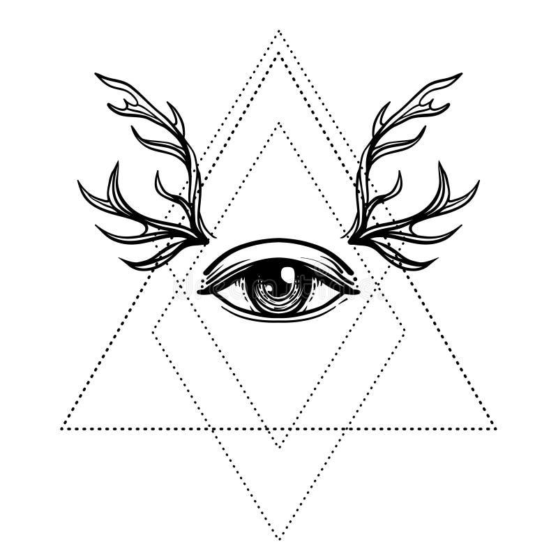 All Seeing Eye Symbol Over Rose Flower And Deer Antlers Sacred