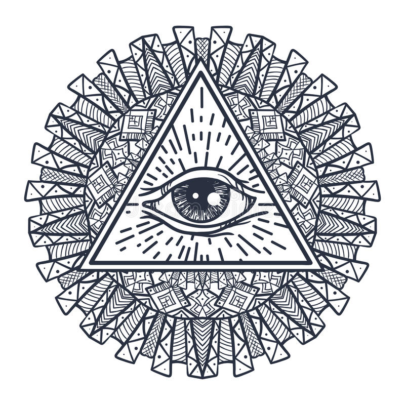 Download All Seeing Eye In Triangle And Mandal Stock Vector