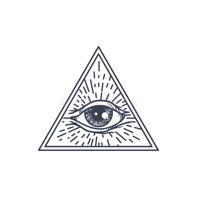 All Seeing Eye in Triangle royalty free illustration